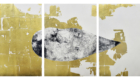 TRIPTYCH 210x100cm (total) Intaglio-Collagraph Print with gold leaves 2105 RASMI SOUKOULIS